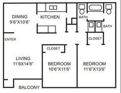 2 bedroom, 1 1/2 bath
