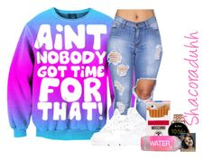 """""""Ya friends bad 2 den tell em come witchu"""" by shacoraduhh ❤ liked on Polyvore featuring NIKE, Moschino and FOSSIL"""