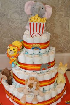 Homemade Circus Diaper Cake for Baby Callie :)