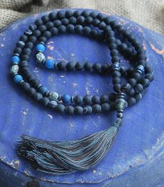 Frosted Agate Mala necklace