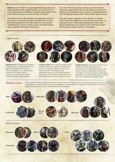A reference page for the wonderful world of armor in D&D. Print resolution here.