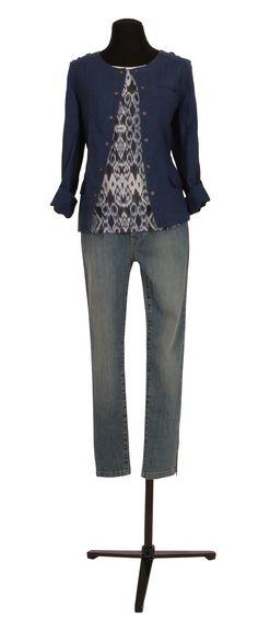 1.2.3 Paris - Veste Thea 99€ Tee-shirt Vikat 35€ Jean Davis 79€ #lin #bleu #imprime #azteque #denim #jean #mode #printemps #ete #123