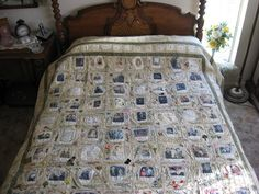 Fabulous genealogy quilt - you can print photos using inkjet or laserjet printers onto a backed fabric and then make them into quilt blocks. http://1.bp.blogspot.com/_9pcIXf2uduA/SjMYWo8NJYI/AAAAAAAABXY/-iJaUHnlwvE/s800/IMG_3090.JPG