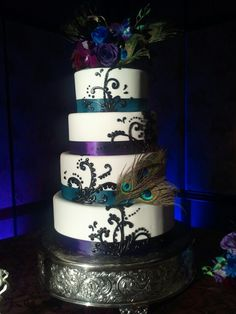 Wedding cake #Peacock Wedding ...Wedding App for brides & grooms, bridesmaids & groomsmen, parents & planners ... the how, when, where & why of wedding planning ... https://itunes.apple.com/us/app/the-gold-wedding-planner/id498112599?ls=1=8  ♥ The Gold Wedding Planner iPhone App ♥