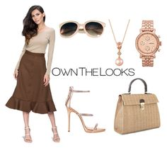 """""""Button Detail Midi Skirt"""" by ownthelooks on Polyvore featuring Giuseppe Zanotti, LE VIAN and FOSSIL"""