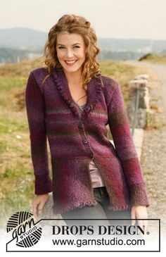 """Knitted DROPS jacket in garter st with bobbles along the edges in """"Delight"""" and """"Kid-Silk"""". Size: S to XXXL"""