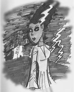 #OldStuff: Bride of Frankenstein #: #woman #mujer #frankenstein #bride #brideoffrankenstein  #monster #lightning #horror #illustration #draw #sketch #drawing #art #artistsoninstagram #dailysketch  #cute #adorable #fanart  #blackandwhite #traditional #traditionalart #ink #markers