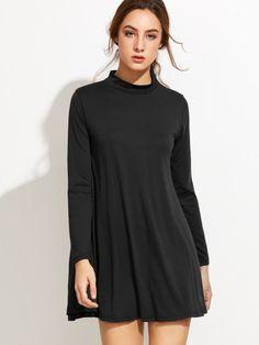 Robe chemise manche longue - noir