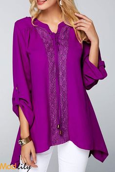 7ce4a5c4 Lace Panel Roll Tab Sleeve Purple Blouse On Sale At Modlily. Free shipping.