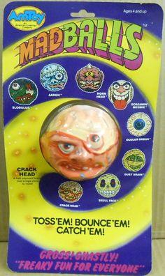 Madballs Crackhead on cardback (Amtoy, Toys R Us Kids, 80s Kids, Childhood Toys, Childhood Memories, Toy Packaging, Garbage Pail Kids, Horror House, Kids Growing Up, Kids Zone
