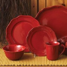 Gibson Better Homes 16 Piece Fluted Red Dinnerware Set