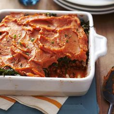 Sweet Potato Shepherd's Pie (with a Cajun makeover - with Collard greens, sweet potatoes, and spices adding a southern feel and flavor to this dish)