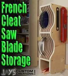 How To Make A French Cleat Noticed Blade Storage Rack. ** Discover even more at the picture link More info @  http://jayscustomcreations.com/2014/02/how-to-make-a-french-cleat-saw-blade-storage-rack/