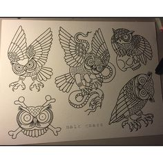 Working on a new one off sheet. Owls owls owls... #tattoo #tattoos #tattooflash…