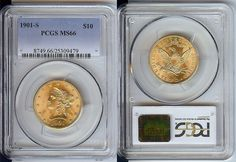 1901-S $10 Gold Liberty Coin PCGS MS66 Uncirculated - Certified