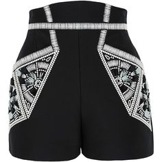 sass & bide Ocean of Life Embellished Tailored Shorts (€315) ❤ liked on Polyvore featuring shorts, bottoms, pants, short, black, embellished shorts, high-waisted shorts, tailored shorts, short shorts and high rise shorts