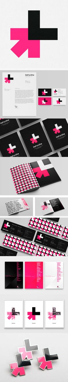 I love the logo and the explanation (the HeForShe logo mark represents this solidarity movement by joining together aspects of both the female and male symbols). The logo in application on collateral and swag looks great