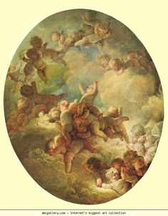 """Jean-Honoré Fragonard. Groups of Children in the Sky (""""A Swarm of Cupids"""")"""