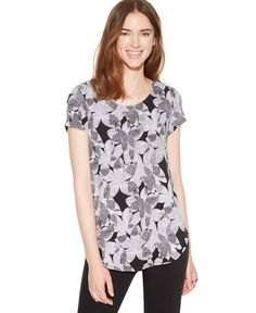 Alfani Short-Sleeve Floral-Print Top