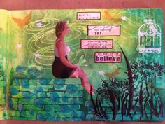Dylusions ink, stencils and stamps. Distress ink. Crafter Workshop stencils. Penny Black stamp. My daughter :)