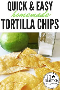 These homemade corn and flour tortilla chips are easy and simply delicious. They are baked which makes them a healthier alternative to the fried version!