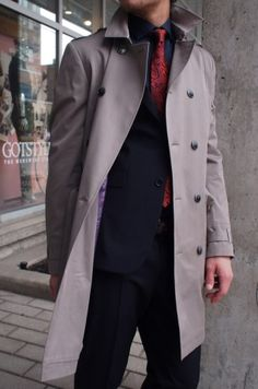 Ted Baker trench coat $695 from Gotstyle Menswear.
