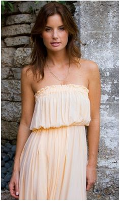 Moana Strapless Dress by Indah - No tan lines in this sexy summer dress. Time to show off the sexy shoulders that you've been working hard on, and maybe a little bit of cleavage for the Hunks. The color name of this light orange dress is perfect... sunset.