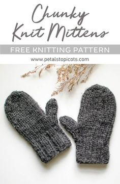 Chunky Knit Mittens Pattern – Great for Beginners! Chunky Knit Mittens Pattern – Great for Beginners!,Handwork ✿ Arts and Crafts This knit mittens pattern works up super quickly and is a great basic pattern. Knitting Terms, Beginner Knitting Patterns, Easy Knitting, Knitting For Kids, Knitting For Beginners, Knitting Yarn, Knitting Projects, Knitting Tutorials, Knitted Mittens Pattern