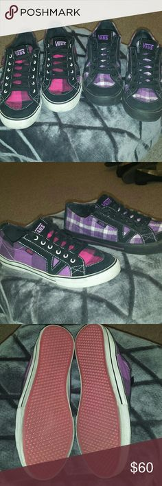 2 Pairs Plaid Authentic Vans Sneakers Super cute and fun plaid vans. One in magenta/purple/black and one in purple/black/white. In excellent condition as shown. Only worn a handful of times. Little to no wear on treads. Tons of life left in them. Both are size 8. Feel free to make an offer! Vans Shoes Sneakers