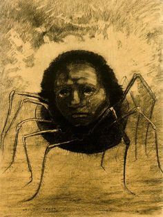 Odilon Redon, Crying spider, lithographie