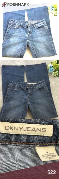 """DKNY Flare Low Rise Jeans Size 4 DKNY Jeans  Size 4 Excellent gently used condition  Measures approximately 16.5"""" at waist (33 total) Rise measures 8"""" Hips measure approximately 18.5"""" Inseam measures approximately 33"""" Leg opening measures approximately 10.5"""" Thanks for looking! Dkny Jeans Flare & Wide Leg"""