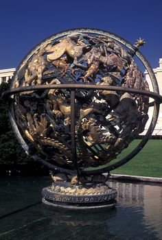 Globe sculpture on the Palais des Nations grounds, outside the European headquarters of the United Nations, Geneva, Switzerland