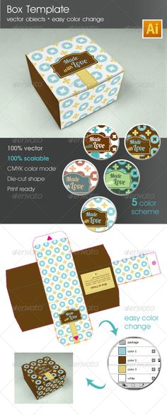 box template, die-cut shape, gift box, keyline, package, package design, packaging, print box, print-templates, packaging Box Template Package 100% vector 100% scalable keyline/ die-cut shape 5 different color scheme easy color change Ai /PDF / EPS file/ 80×80x50 mm CMYK color mode Print ready HELP file Free Fonts used are listed below Aller – http://www.fontsquirrel.com/fonts/Aller Lobster two – http://www.fontsquirrel.com/fonts/lobster-two Enjoy it