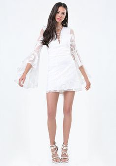 Bell Sleeve Lace Up Dress #Summer dress #Sleeve Lace white Dress