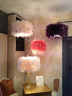 Handmade feather suspension lamps. Can be used as table lamp shades as well. Hand dyed & naturally anti-static. Made in Paris. From Toronto.