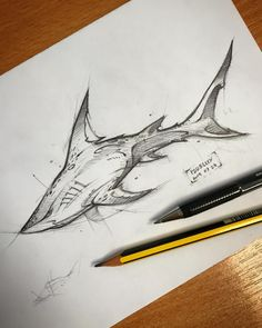 Sharks are my favorite animal, and I think this drawing is really cool. Pencil Art Drawings, Cool Art Drawings, Art Drawings Sketches, Tattoo Sketches, Tattoo Drawings, Animal Sketches, Animal Drawings, Shark Art, Amazing Drawings
