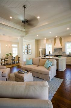 Open concept with the kitchen, living room and dining room all together- this is what I want!!!
