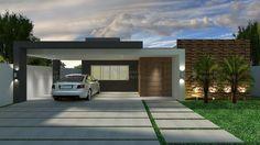 Casa C004: Projeto de casa com 3 quartos, sendo 1 suíte, 3 banheiros e 2 vagas na garagem. Fachada moderna e telhado oculto, com platibanda.