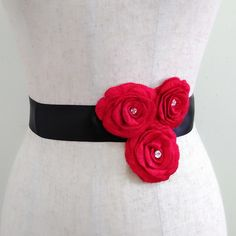 Red flower sash, Floral sash, Rhinestone embroidery belt, Jeweled sash, Bridal sash, Wedding gown sash, Dress sash, Beaded sash,Crystal belt