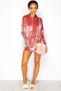 Megan McKenna Nude Oversized Velvet Hoody