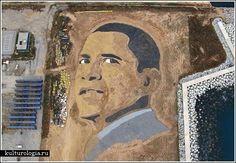 Барак Обама из песка