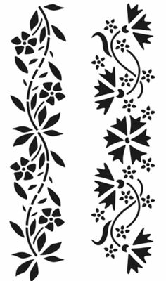Wall Stencil Patterns, Stencil Art, Stencil Designs, Peacock Painting, Fabric Painting, Simple Flower Drawing, Jaali Design, Deco Cuir, Boarder Designs