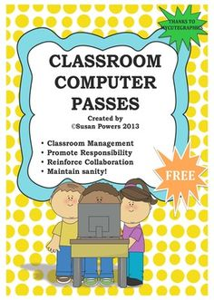 Classroom Management Computer Passes from Cool Teaching Tools on TeachersNotebook.com -  (5 pages)  - No more computer hassles - I finally got organized with these FREE  computer passes for classroom management.