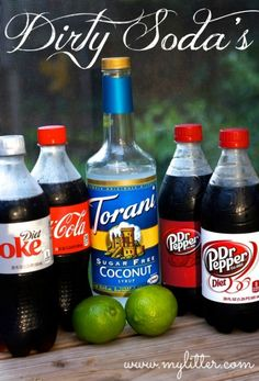 Dirty Dr. Pepper or Dirty Coke Recipe - MyLitter - One Deal At A Time  oh yes.  diet coke/pepsi/dr pepper, lime, sugar free syrup, and then half and half. must try!