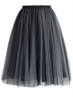 smoke grey tulle skirt