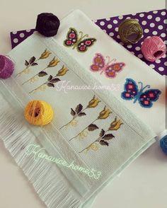 🦋⚘🦋⚘🦋⚘🦋 . . . . @kanavice_home53 . . #kaneviçe#havlukenarıörnekleri#ceyizlik#etamin Cross Stitch Embroidery, Cross Stitch Patterns, Butterfly Cross Stitch, Swedish Weaving, Bargello, Plastic Canvas, Knit Crochet, Sewing, Knitting