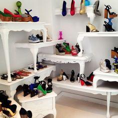 tables as shelves housing shoes, im in decoration shoe heaven!