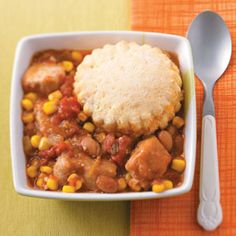 Southwestern Potpie with Cornmeal Biscuits Recipe from Taste of Home -- shared by Andrea Bolden of Unionville, Tennessee
