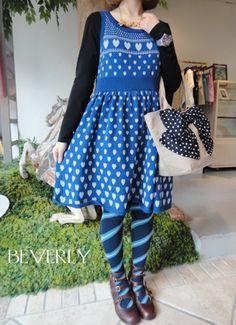 Jane Marple heart print knit sleeveless onepiece. Love the tights!