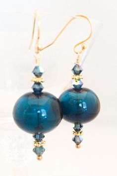 Dark Blue Glass Earrings  Blue Lampwork by MyPrettyChicBoutique